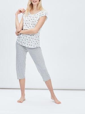 Ensemble pyjama 2 pieces ecru femme
