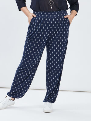 Pantalon sarouel fluide bleu marine femmegt