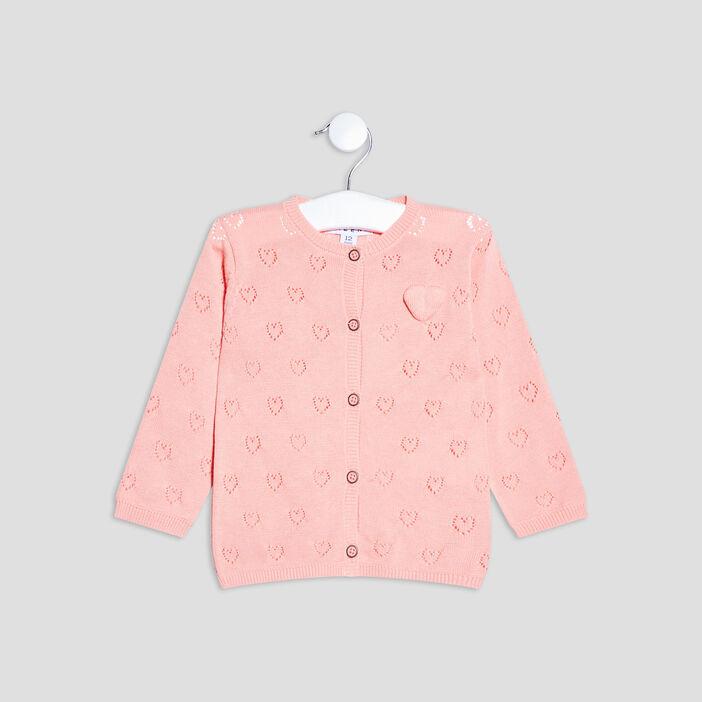 Gilet boutonné ajouré bébé fille rose
