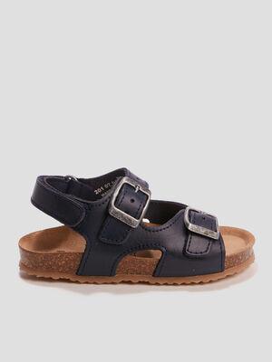 Sandales en cuir avec brides bleu garcon