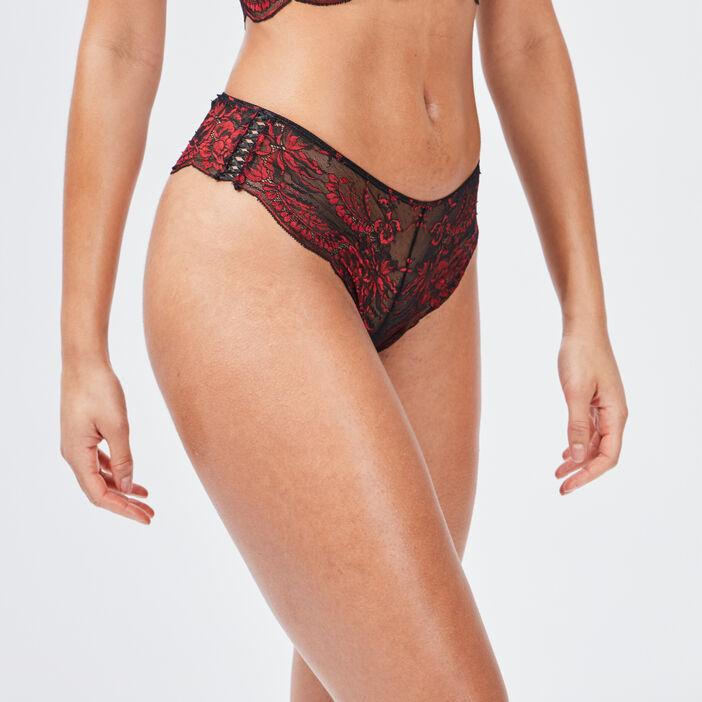 Boxer string en dentelle femme rouge