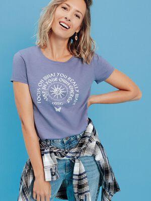 T shirt manches courtes Creeks bleu lavande femme