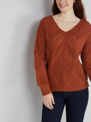 Pull touches irisees a motifs ajoures camel femme