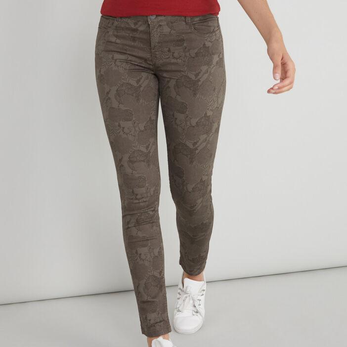 Pantalon imprimé coupe droite femme beige