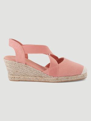 Sandales toile talon corde compense rose femme