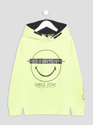 Sweat a capuche Smileyworld jaune fluo garcon
