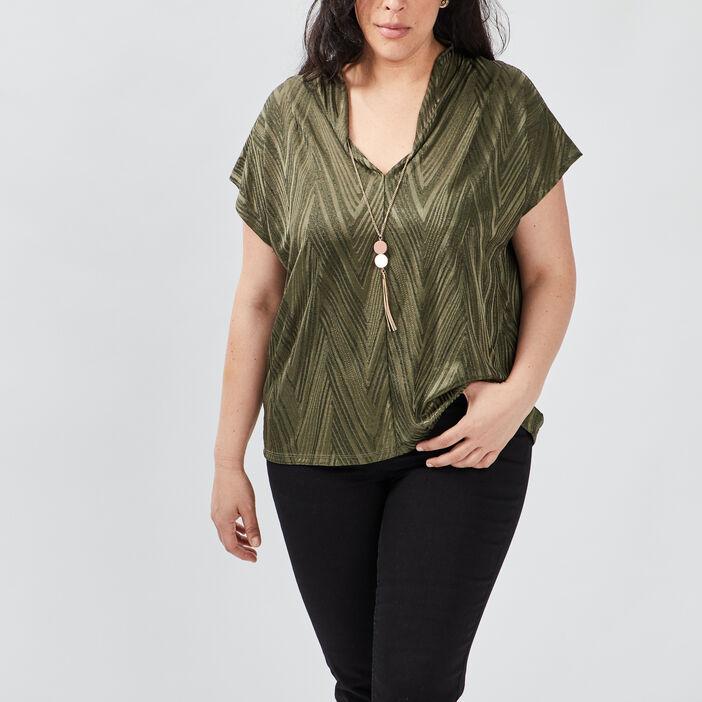 T-shirt manches courtes femme grande taille vert kaki
