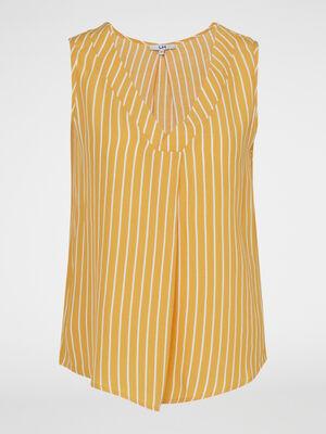 Chemise manches courtes jaune femme