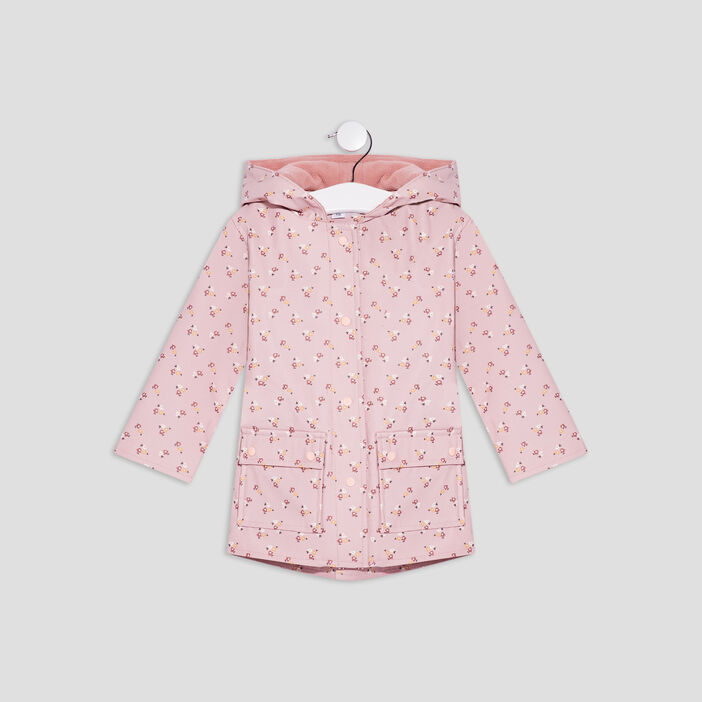 Parka droite à capuche bébé fille rose