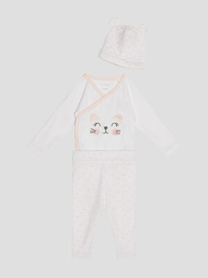 Ensemble body pantalon et bonnet blanc fille