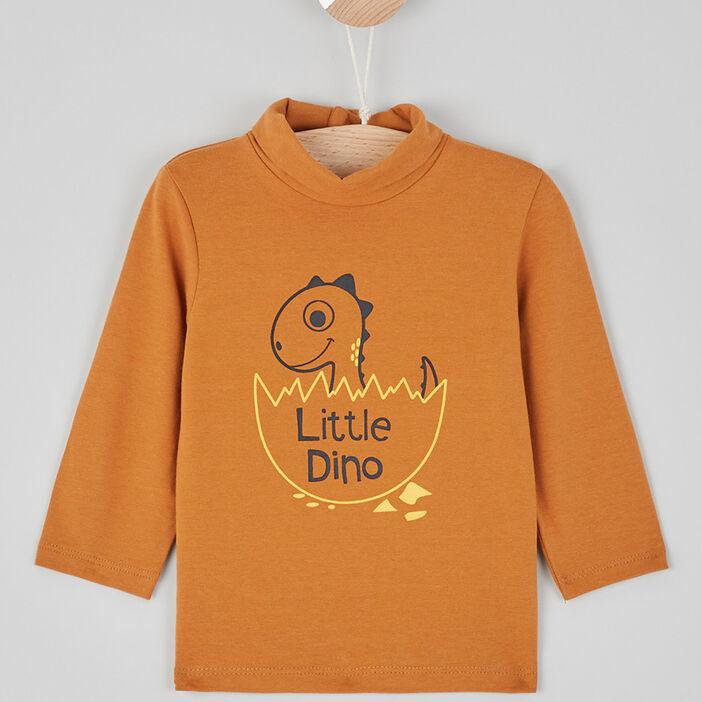 T-shirt à col roulé garçon camel
