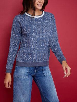 Sweatshirt esprit patchwork bleu marine femme