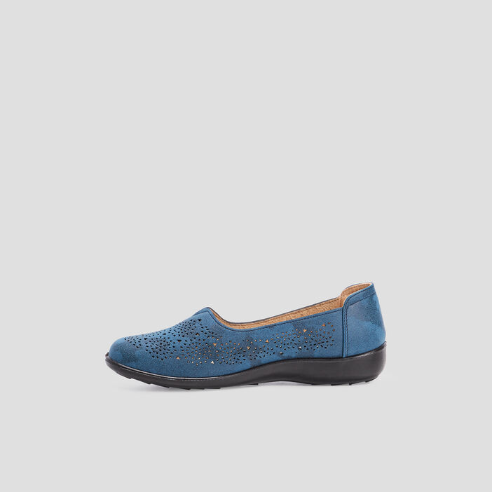 Mocassins perforés femme bleu
