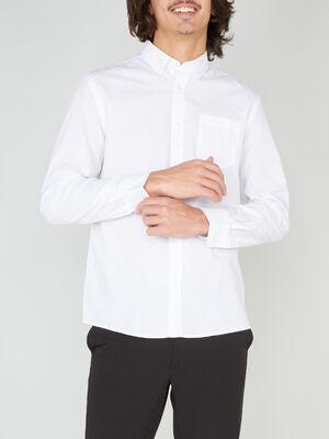 Chemise droite unie manches longues blanc homme