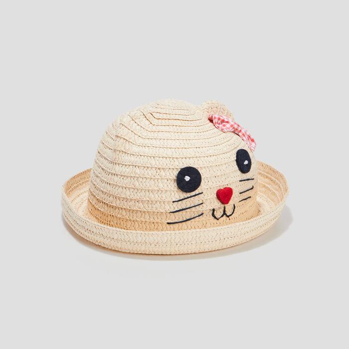 Chapeau tressé fantaisie bébé fille beige