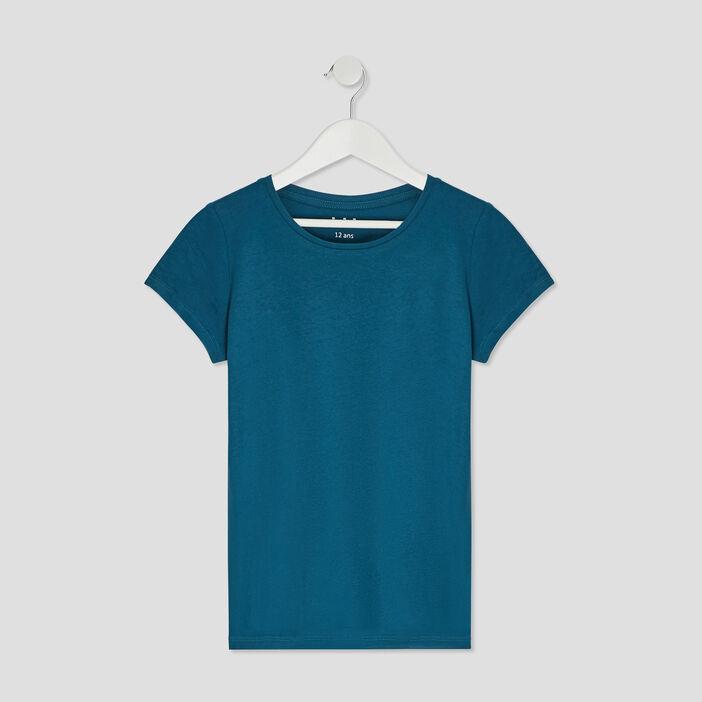 T-shirt manches courtes fille bleu canard