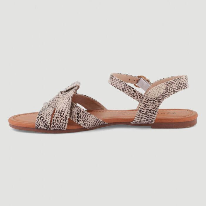 Sandales plates façon python femme beige