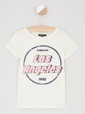 T shirt en coton avec imprime jaune fille