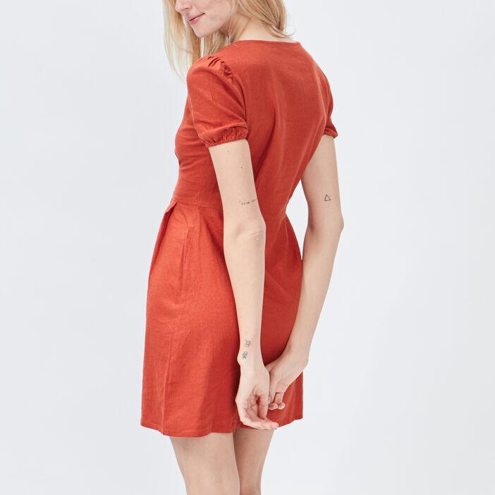 Robe évasée boutonnée femme orange