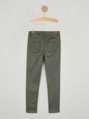 Pantalon skinny uni 5 poches vert kaki fille