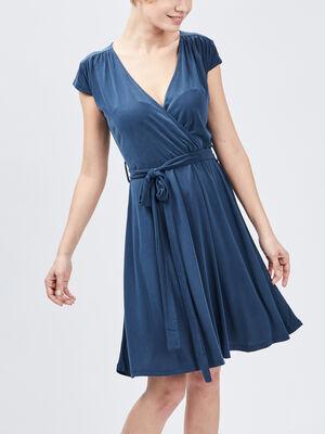 Robe evasee ceinturee bleu femme