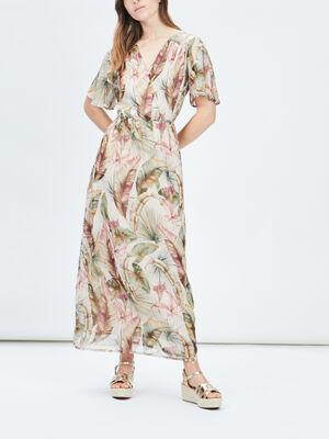 Robe longue droite fendue rose femme