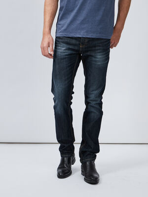 Jeans straight effet delave denim stone homme