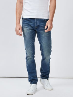 Jeans straight effet delave denim dirty homme