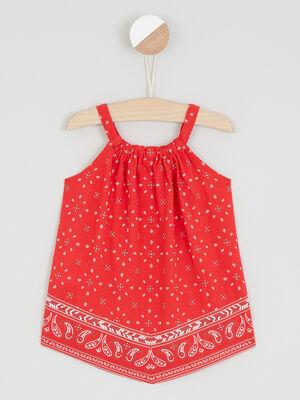 Robe bretelles imprime esprit bandana rouge fille