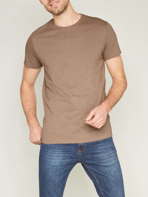 T shirt col rond uni taupe homme