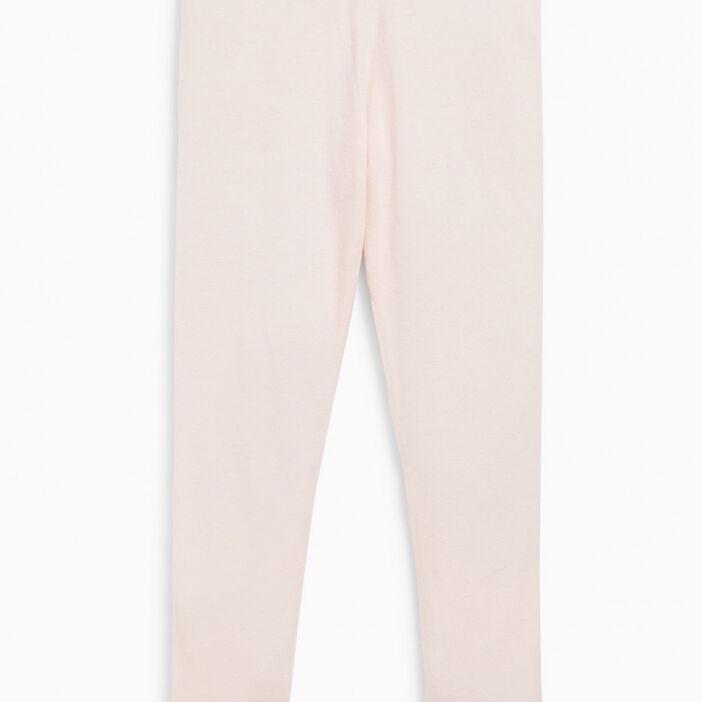Legging coton majoritaire uni fille rose clair