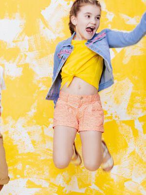 T shirt manches courtes jaune fille