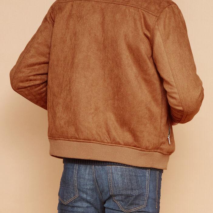 Blouson à col chemise sherpa homme camel