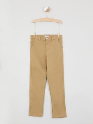 Pantalon chino uni en coton beige garcon