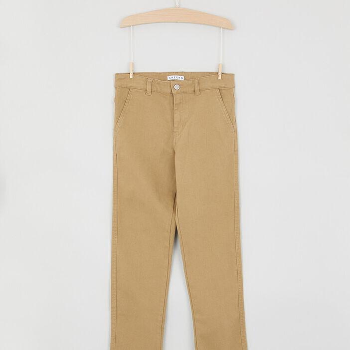 Pantalon chino uni en coton garçon beige