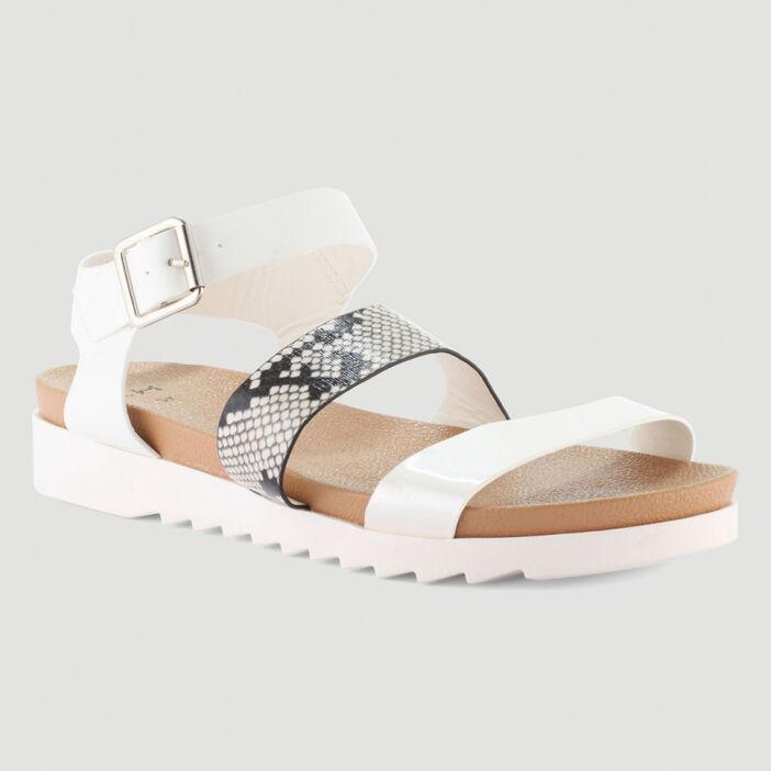 Sandales plates bride fantaisie femme blanc