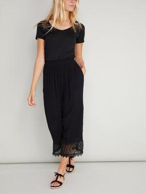 Pantalon large avec dentelle noir femme