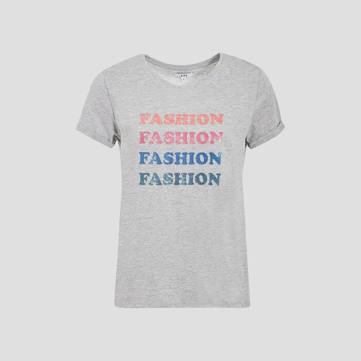 T-shirt manches courtes femme gris