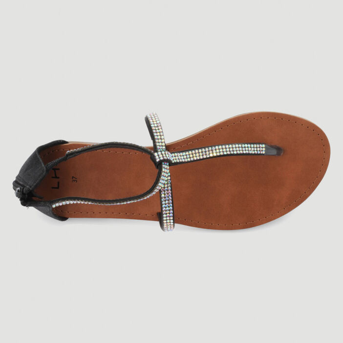 Sandales à entredoigt avec strass femme noir
