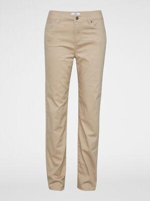 Pantalon uni coupe droite coton beige femme