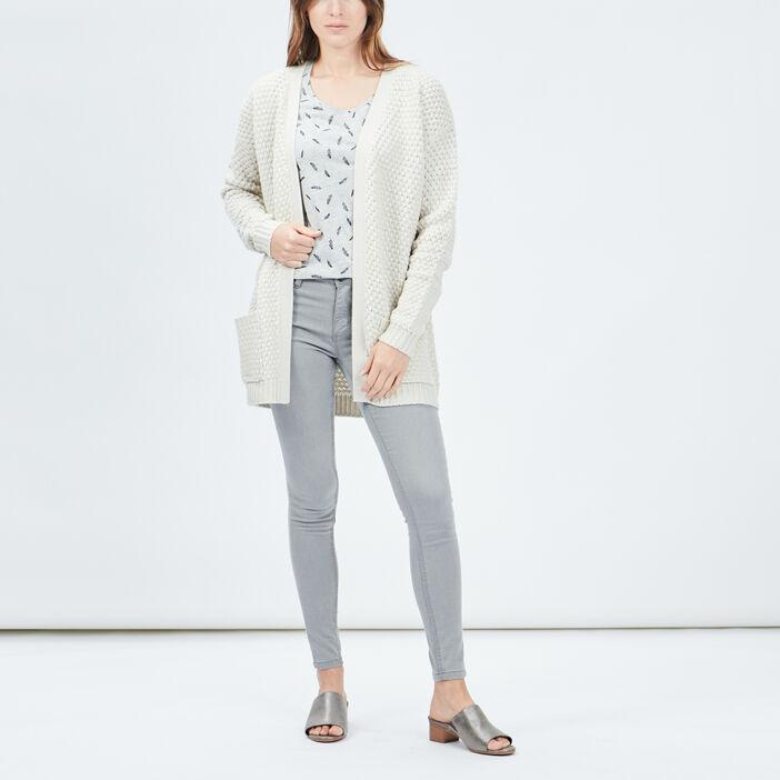 T-shirt manches courtes femme gris clair
