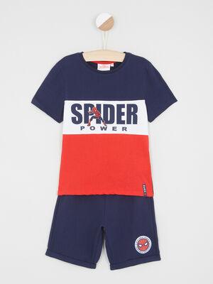 Ensemble T shirt et bermuda Spiderman multicolore garcon
