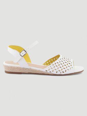 Sandales talon corde compense blanc femme
