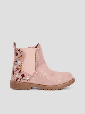 Bottines zippees crantees rose fille