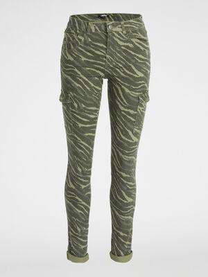 Pantalon imprime multipoches vert kaki femme