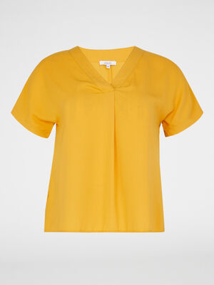 Chemise manches courtes jaune moutarde femme