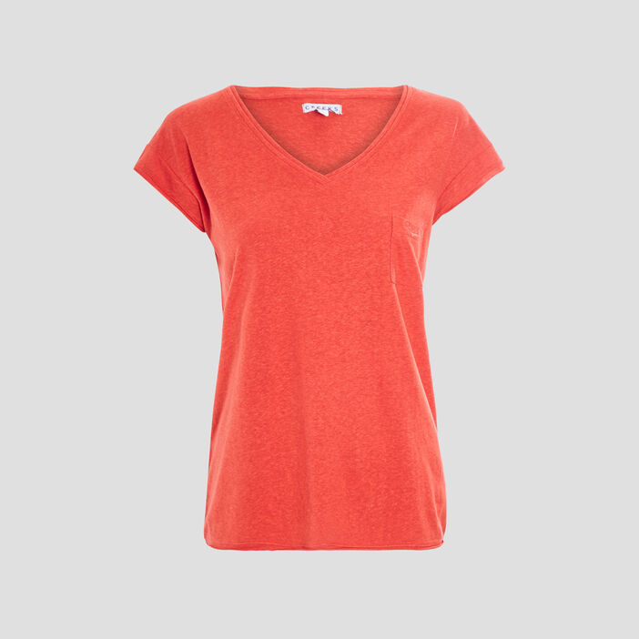 T-shirt manches courtes Creeks femme rouge corail