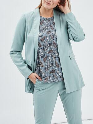 Veste droite avec col chale vert turquoise femme