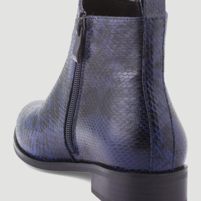 Bottines zippées imprimé animalier femme bleu