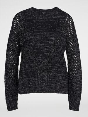 Pull tricot details ajoures noir femme